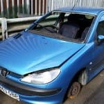 Blue Peugeot for scrap and breaking