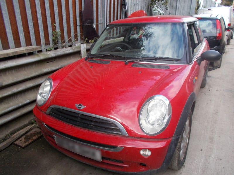 Red Mini Cooper scrap