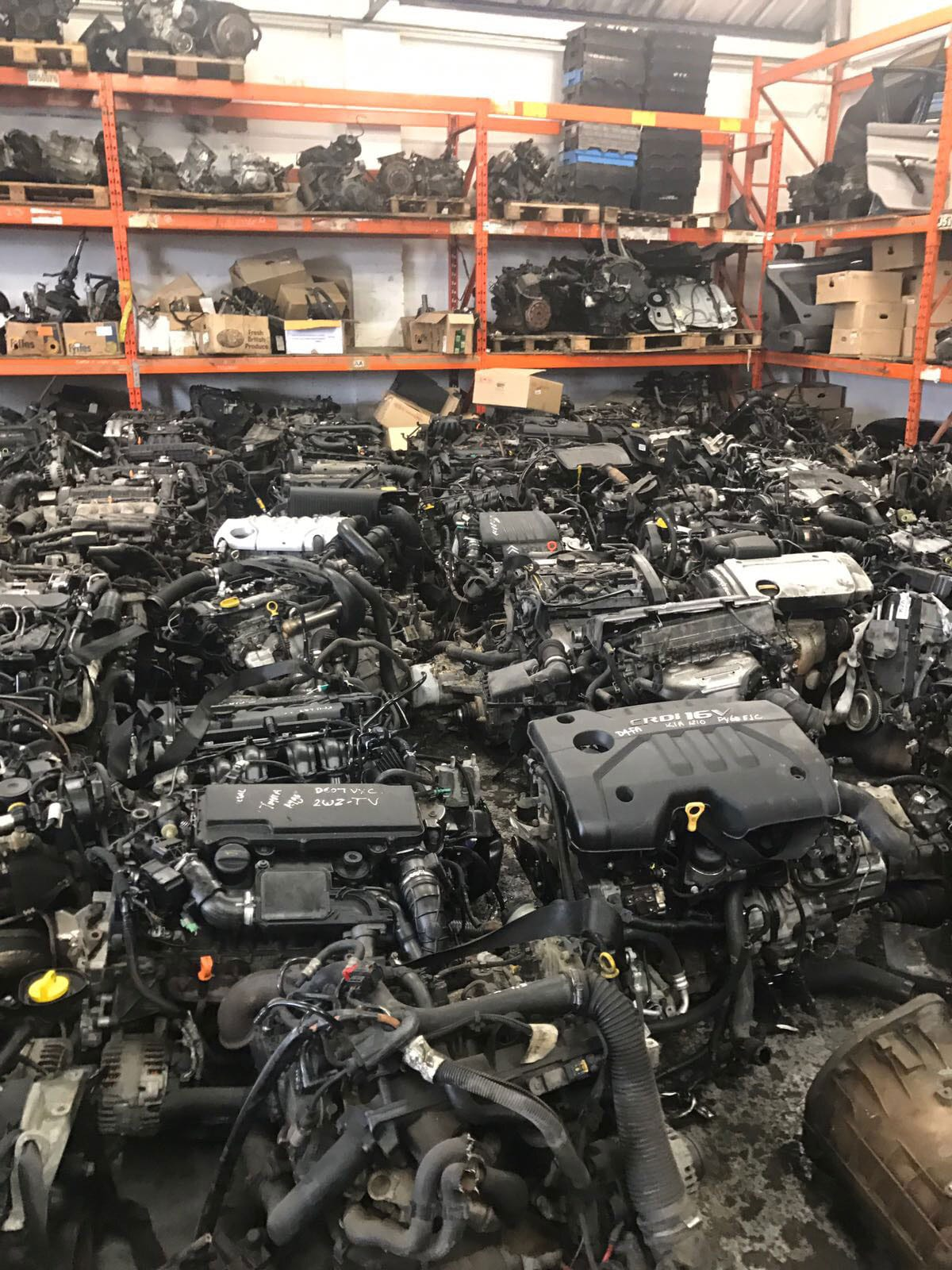Room full of salvaged engines