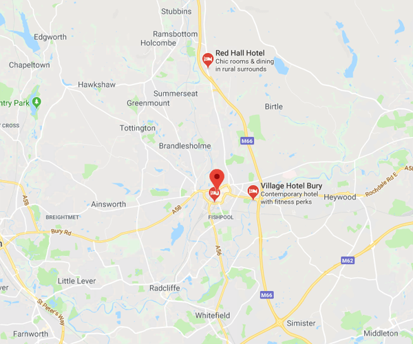 Map of Bury where we will pick up scrap cars