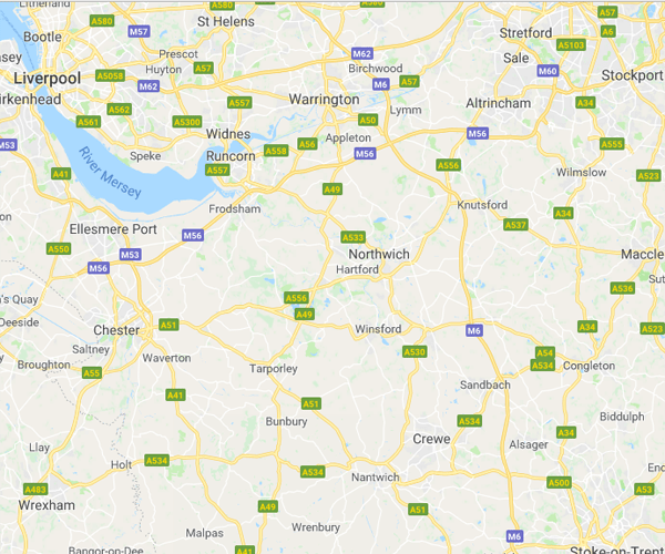 Map of cheshire where we will pick up scrap cars