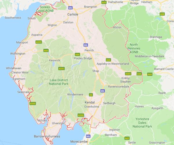 Map of cumbria where we will pick up scrap cars