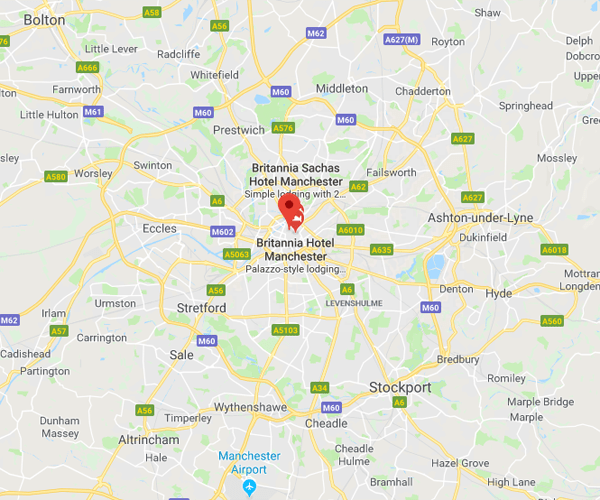 Map of Manchester where we will pick up scrap cars