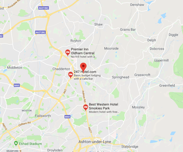 Map of Oldham where we will pick up scrap cars