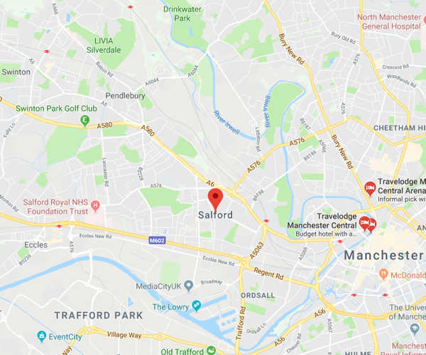 Map of Salford where we will pick up scrap cars