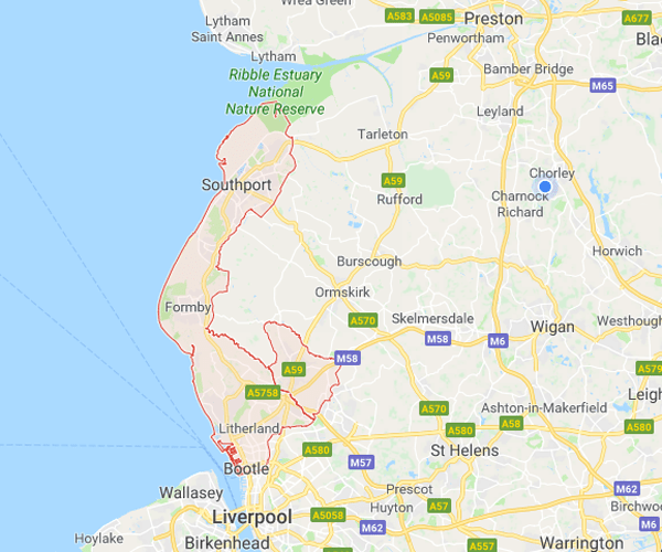 Map of Sefton where we will pick up scrap cars