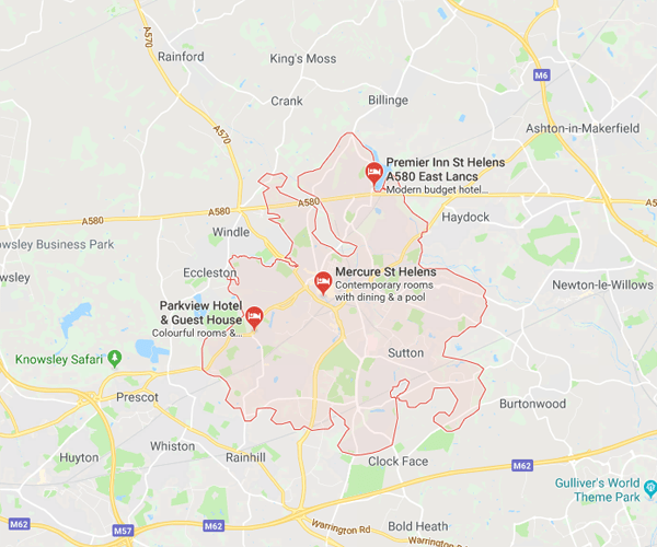 Map of St-Helens where we will pick up scrap cars