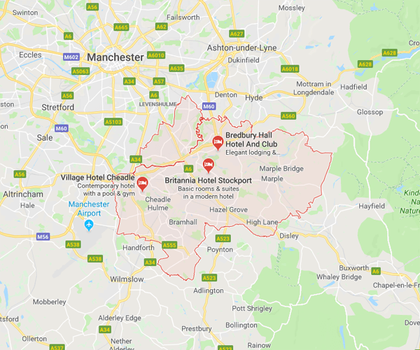 Map of Stockport where we will pick up scrap cars