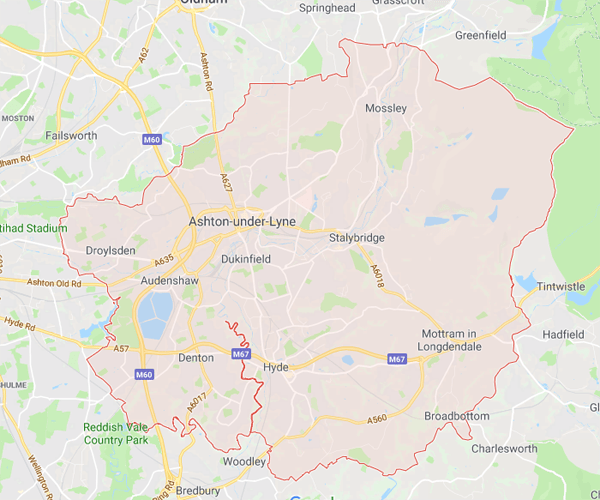 Map of Tameside where we will pick up scrap cars