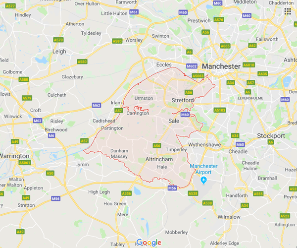 Map of Trafford where we will pick up scrap cars