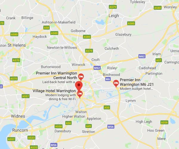 Map of Warrrington where we will pick up scrap cars