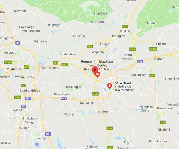 Map of Blackburn where we will pick up scrap cars