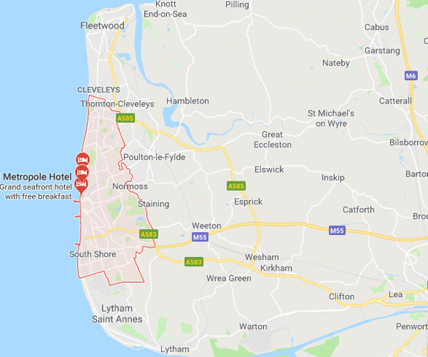 Map of Blackpool where we will pick up scrap cars