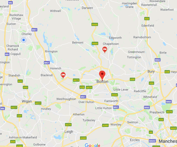 Map of Bolton where we will pick up scrap cars