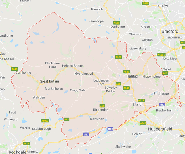 Map of Calderdale where we will pick up scrap cars