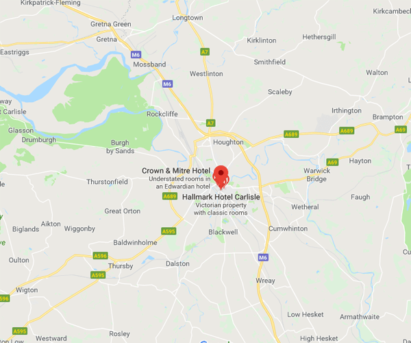Map of Carlisle where we will pick up scrap cars
