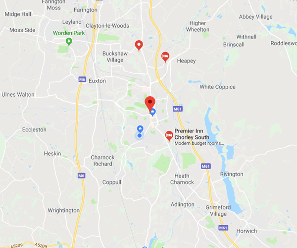 Map of Chorley where we will pick up scrap cars