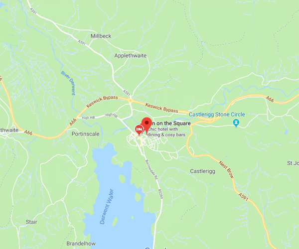 Map of Keswick where we will pick up scrap cars