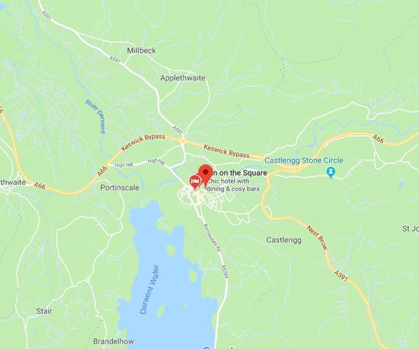 Map of Keswick where we will pick up scrap cars