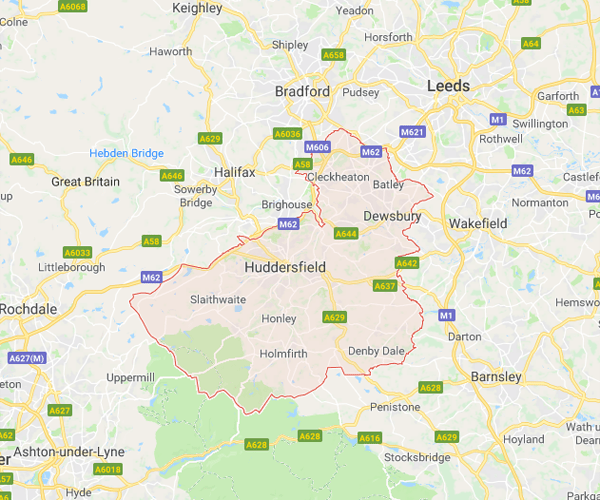Map of Kirklees where we will pick up scrap cars
