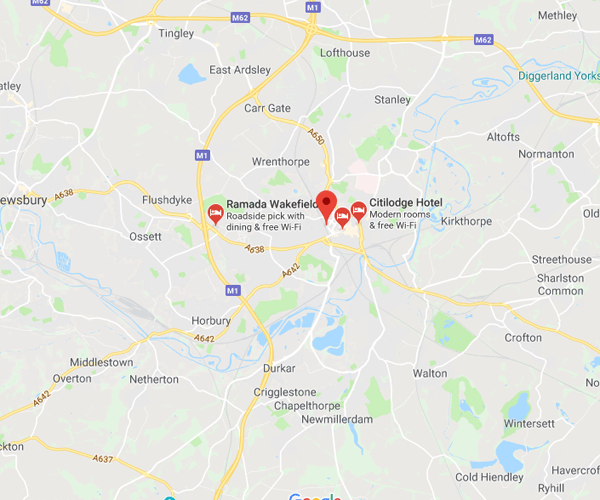 Map of Wakefield where we will pick up scrap cars