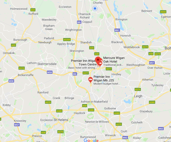 Map of Wigan where we will pick up scrap cars